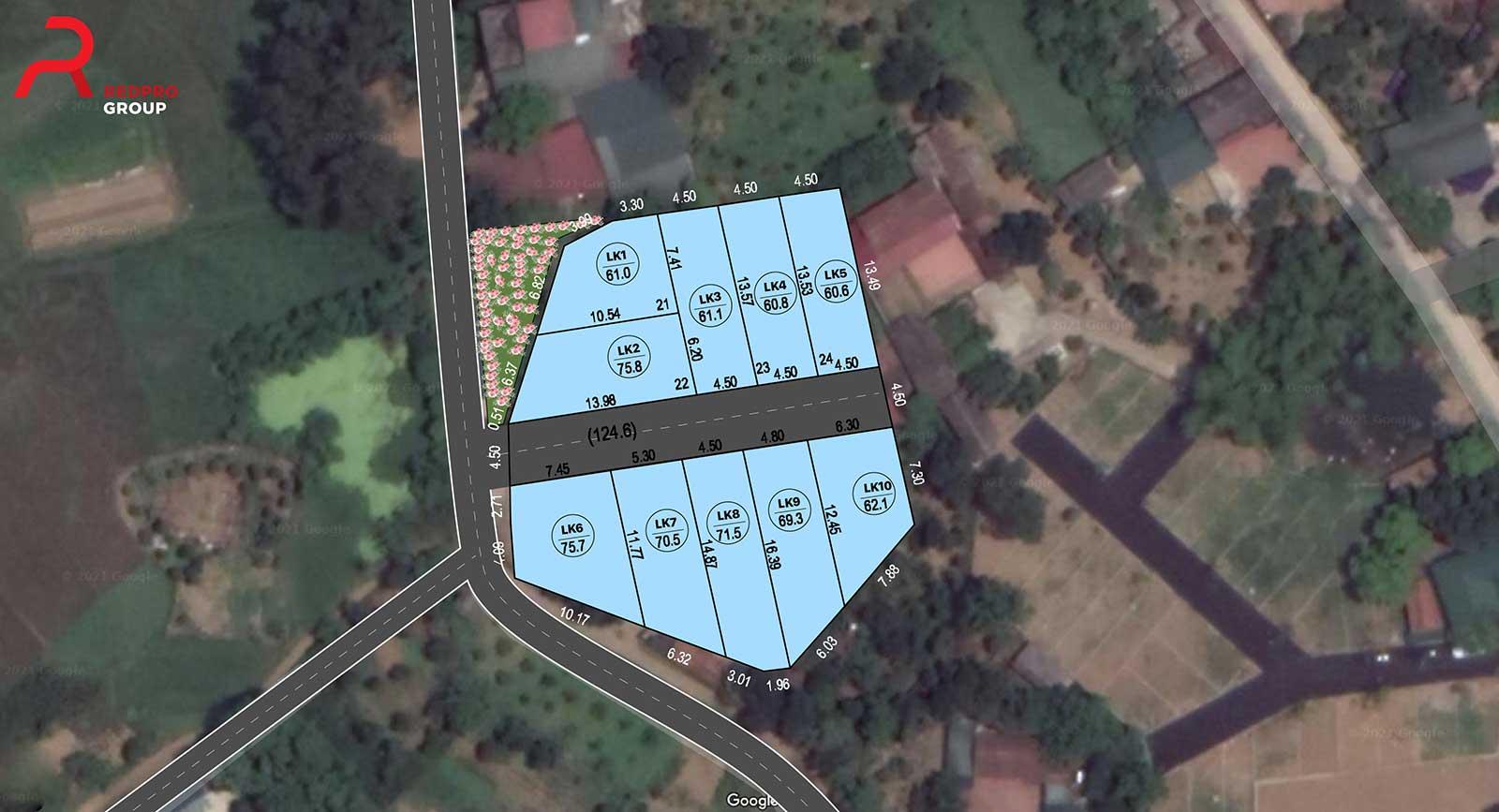 Mặt bằng khu đất phân lô sổ đỏ 10 lô Sen Trì, xã Bình Yên - Khu CNC Hòa Lạc