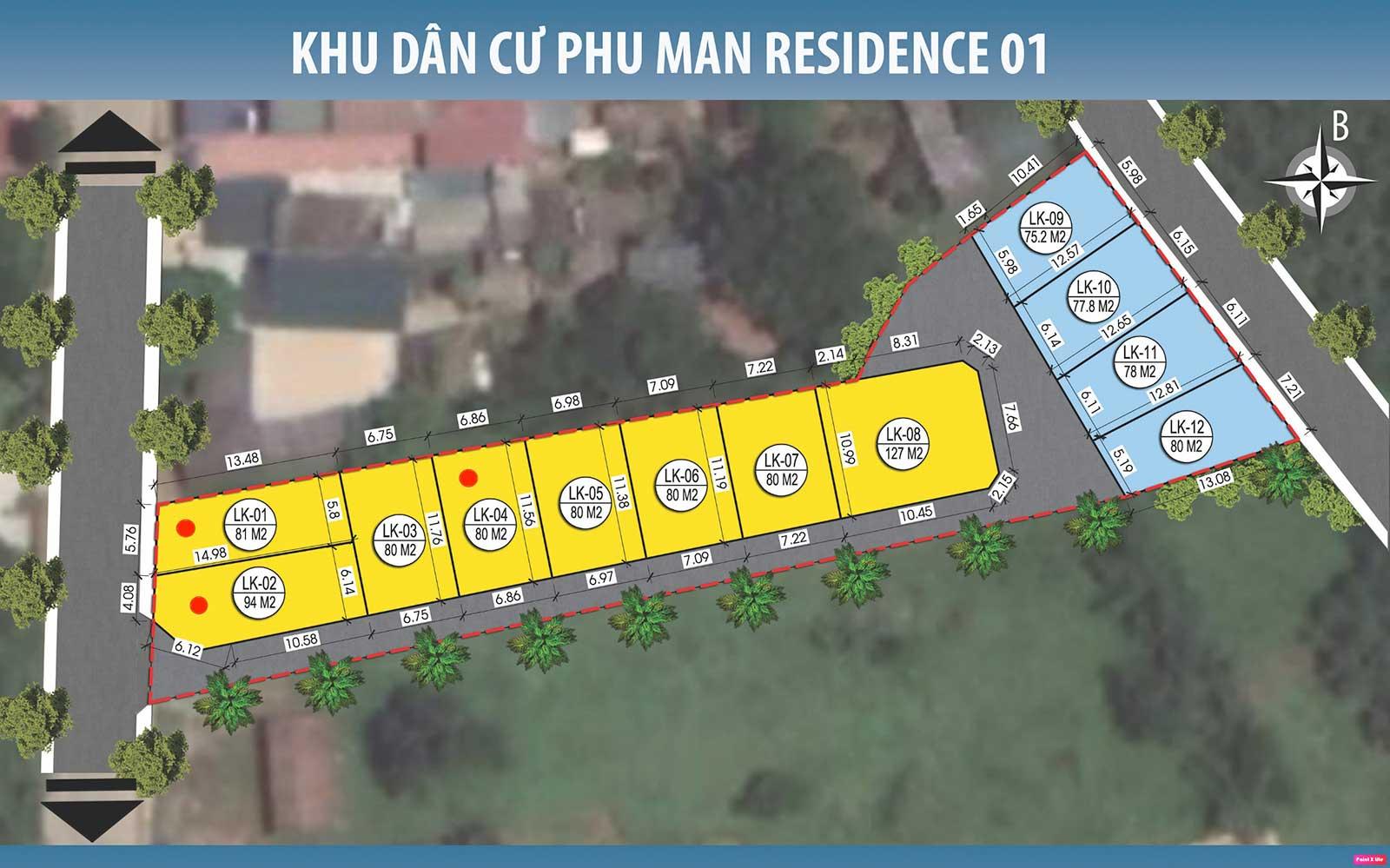 Mặt bằng phân lô khu đất thổ cư 12 lô Phú Mãn Residence 01