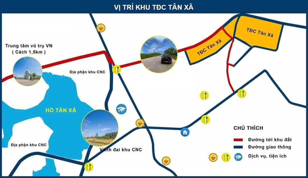 Vị trí khu tái định cư Tân Xã, khu TĐC Tân Xã tại Khu CNC Hòa Lạc
