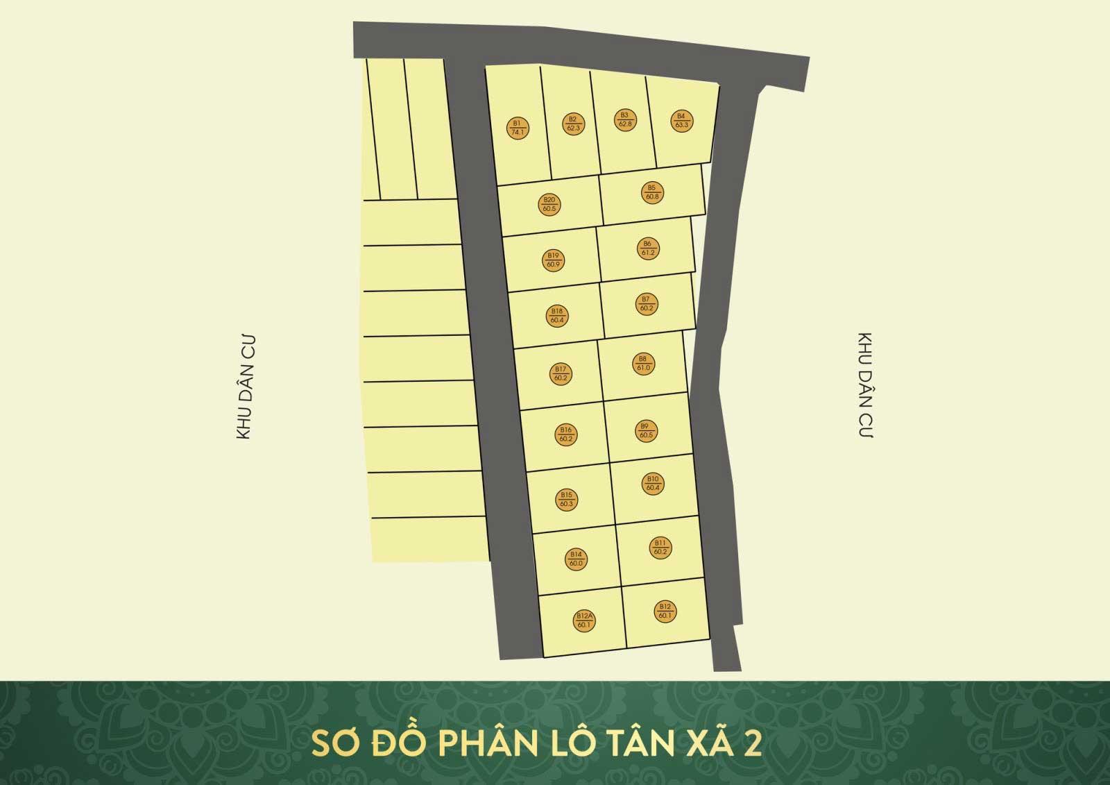 Vị trí khu đất phân lô 20 lô Tân Xã (Tân Xã 2)