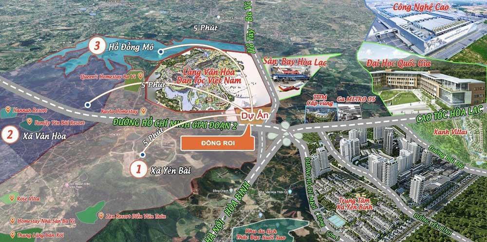 Vị Trí Dự Án Đất Nền Diamond Riverside Hoà Lạc - Khu TĐC Đồng Doi
