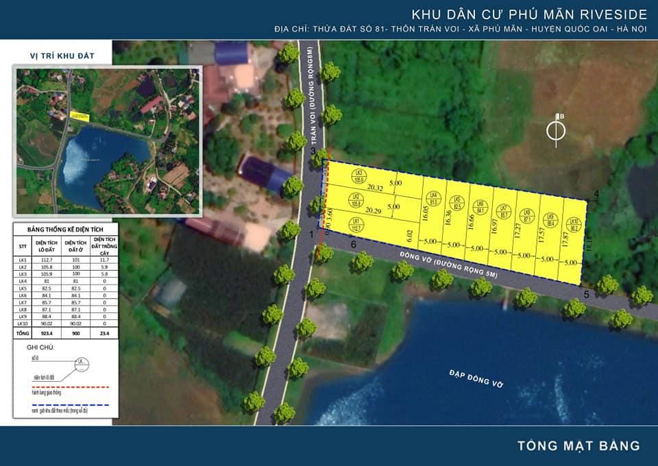 Mặt bằng khu đất nền Hòa Lạc 10 lô Phú Mãn RiverSide, huyện Quốc Oai, TP Hà Nội