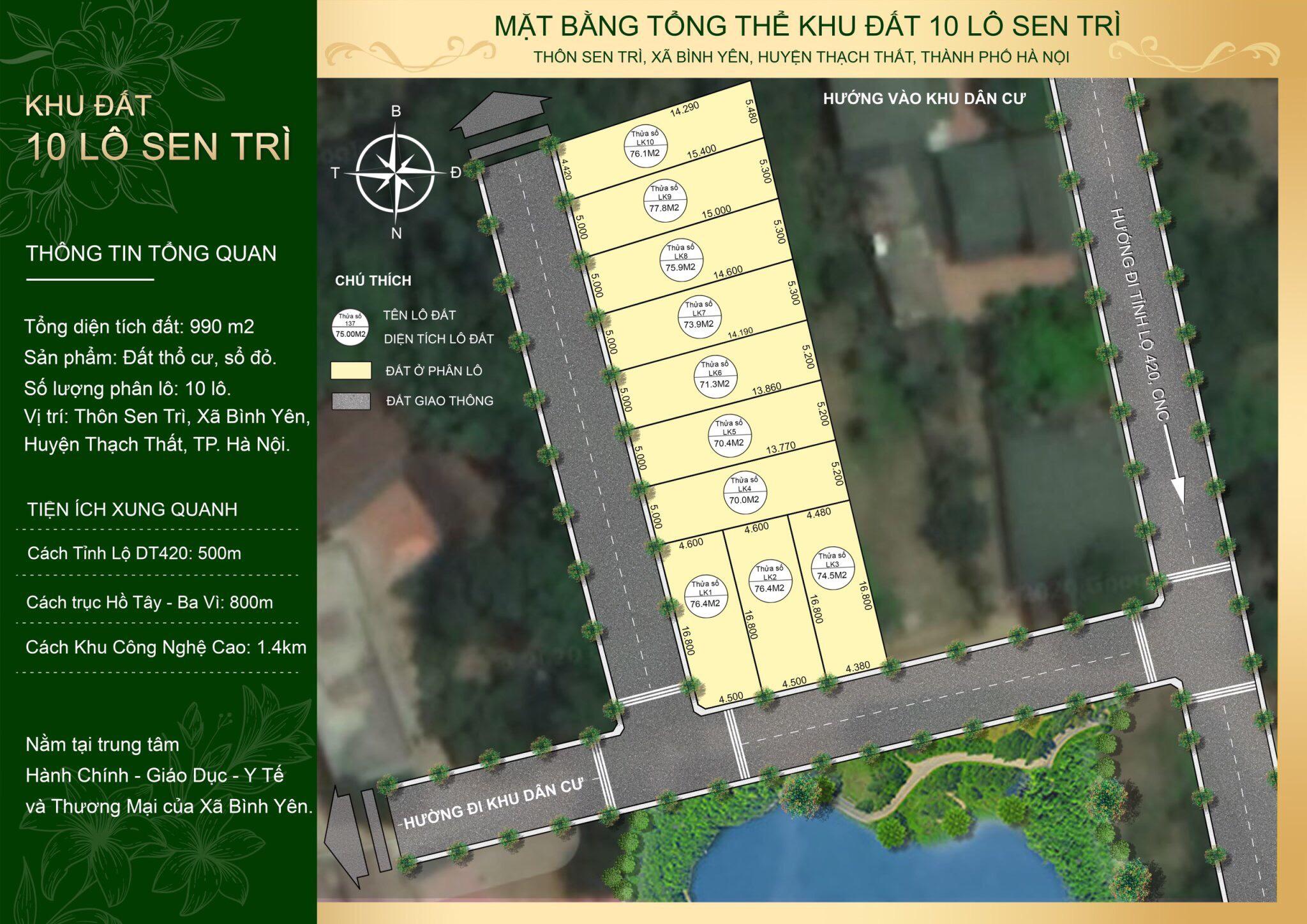 Mặt bằng tổng thể khu đất 10 lô Sen Trì, Bình Yên, Thạch Thất, Hà Nội