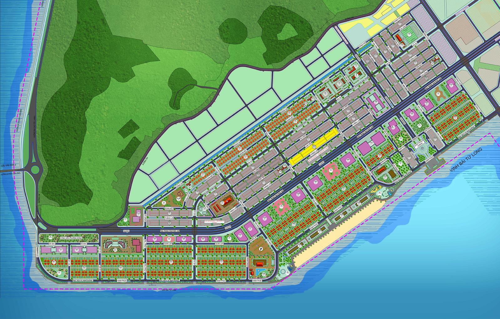 Mặt bằng tổng thể khu đô thị Phương Đông Vân Đồn