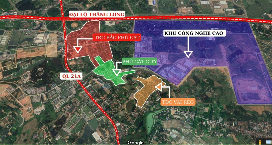 Vị trí khu đất nền Hòa Lạc 12 lô TĐC Phú Cát (TĐC Vai Réo) xã Phú Cát, huyện Quốc Oai, TP Hà Nội