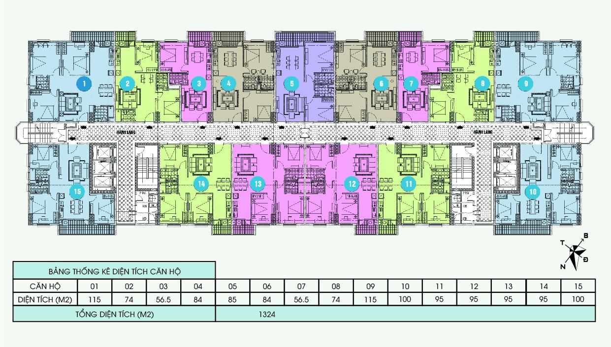 Mặt bằng thiết kế chung cư Bắc Hà Tower
