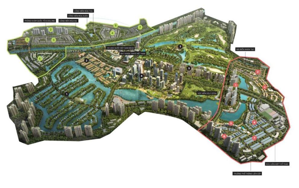 Vị trí dự án khu đô thị xanh Ecopark
