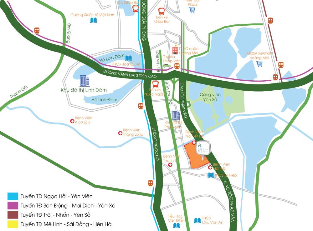 Vị trí dự án chung cư Hồng Hà Eco City