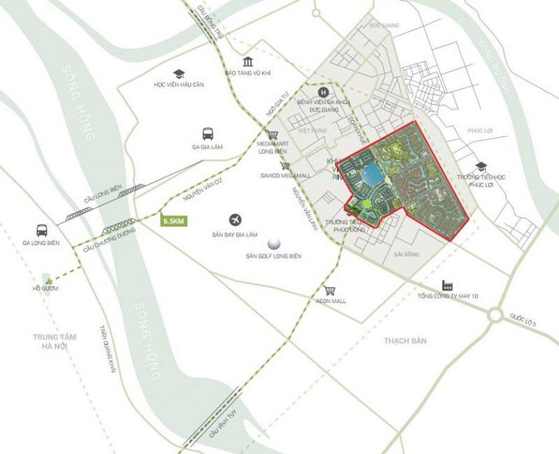 Vị trí dự án khu đô thị Vinhomes Riverside
