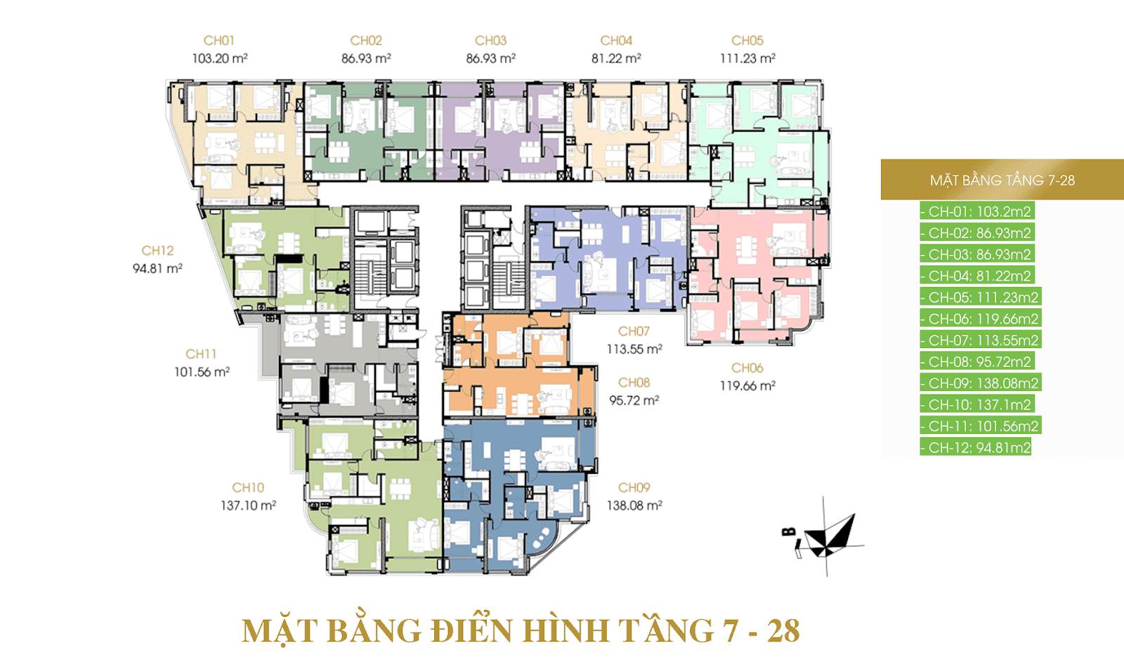 Mặt bằng điển hình căn hộ chung cư Hateco Lamora