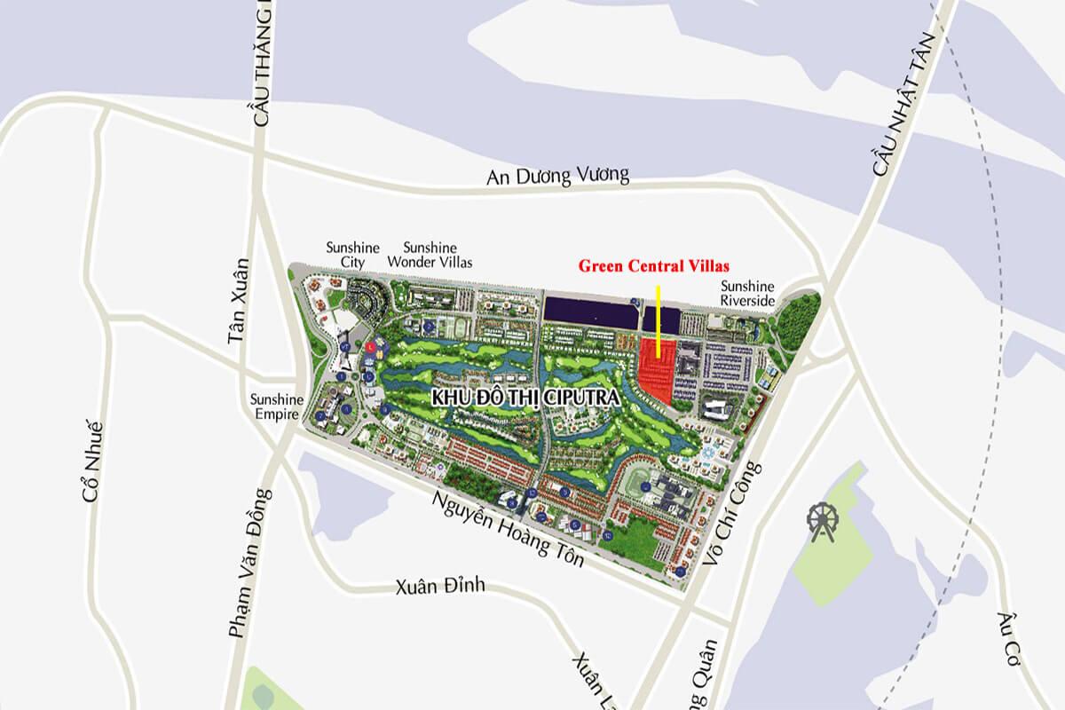 Vị trí khu biệt thự Green Center Villas