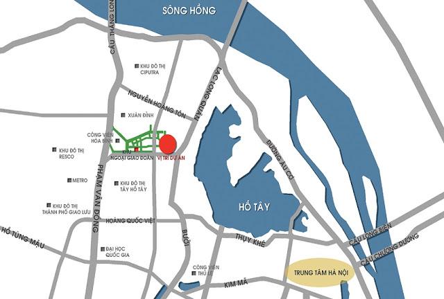 Vị trí dự án khu đô thị Ngoại Giao Đoàn
