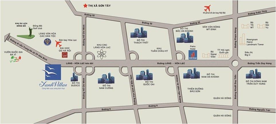 Vị trí dự án khu đô thị Xanh Villas