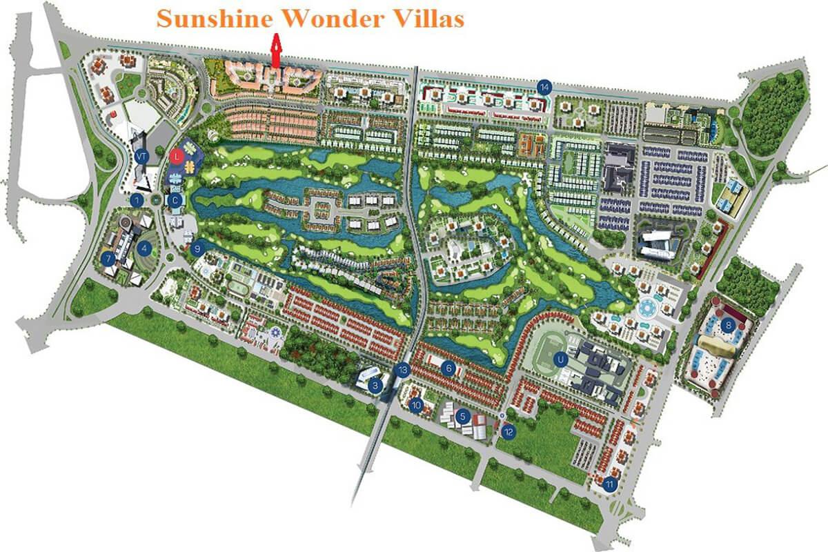 Mặt bằng tổng thể dự án Sunshine Wonder Villas