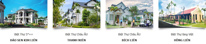 Các loại hình biệt thự tại dự án Vườn Vua Resort & Villa