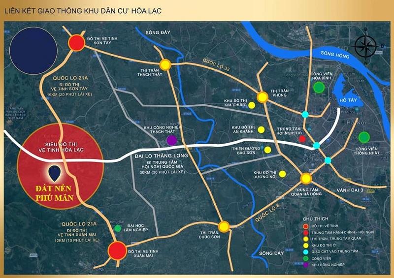 Kết nối giao thông khu 32 lô đất nền Phú Mãn, Hòa Lạc