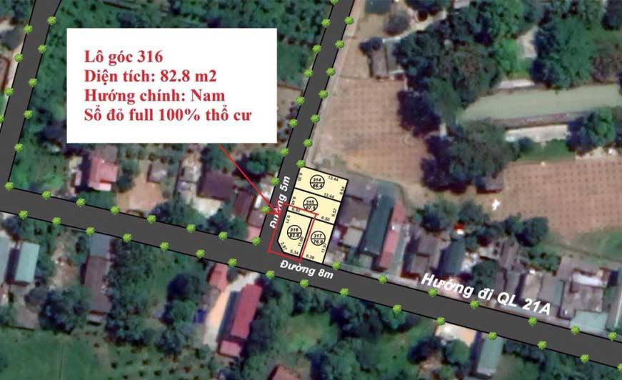 Mặt bằng phân lô 04 lô đất thôn Đồng Vàng, xã Phú Mãn, huyện Quốc Oai, Hà Nội - Đất nền Hòa Lạc