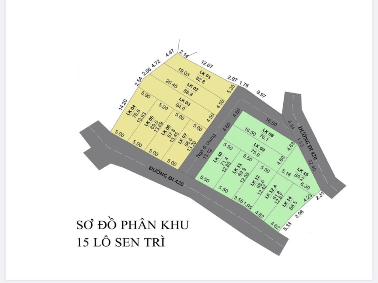 Mặt bằng phân khu 15 lô đất nền Sen Trì, Bình Yên - Khu CNC Hòa Lạc