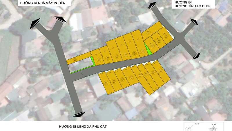 Mặt bằng 19 lô đất khu dân cư Cát Tiền, Phú Cát, Quốc Oai - Khu CNC Hòa Lạc