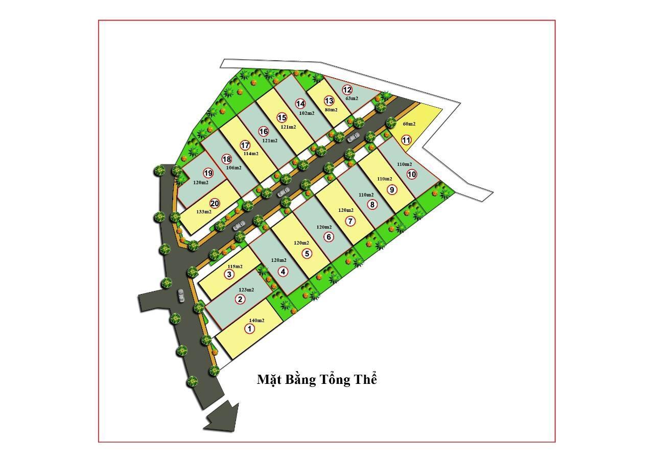 Mặt bằng phân lô 20 lô đất nền thôn Phú Hữu, xã Tân Xã, Thạch Thất, Hà Nội - Đất nền Khu CNC Hòa Lạc