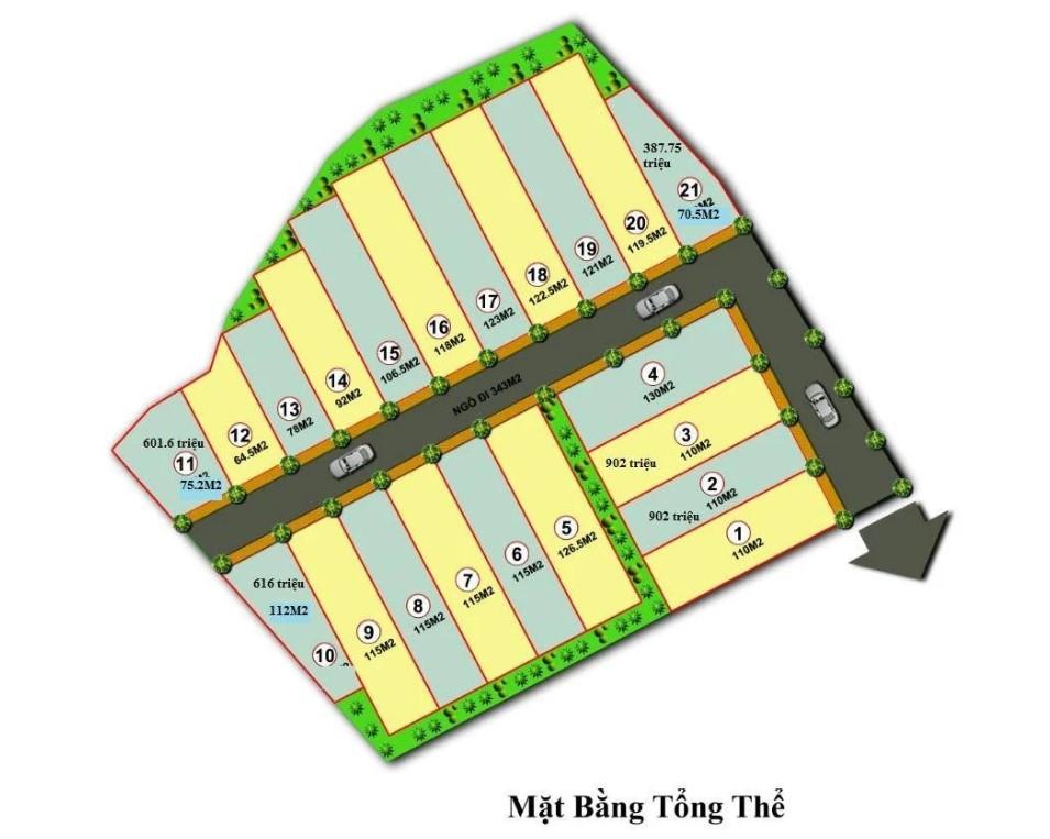 Mặt bằng phân lô 21 lô đất nền thôn Vân Lôi, xã Bình Yên - Hòa Lạc
