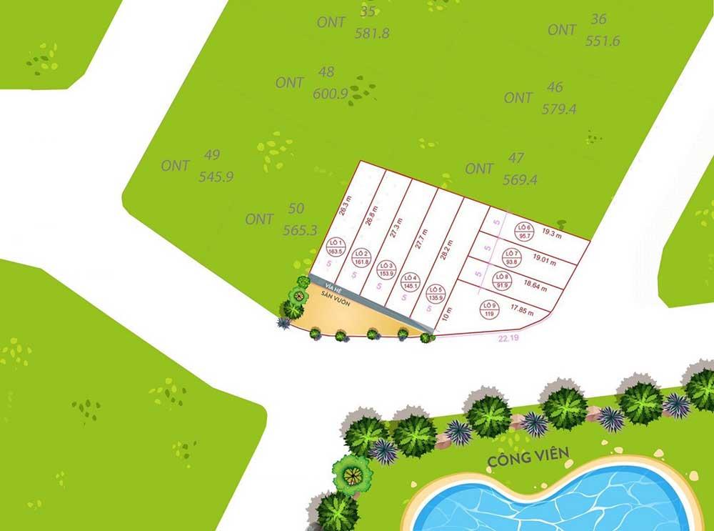 Mặt bằng 9 lô đất nền Vai Réo - Phú Cát, Quốc Oai - Khu đô thị vệ tinh Hòa Lạc