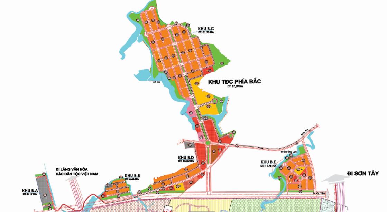 Vị trí khu tái định cư đại học Quốc Gia - Khu đô thị vệ tinh Hòa Lạc