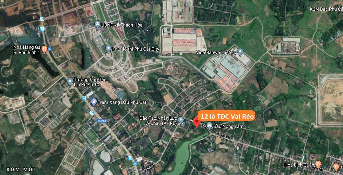 Liên kết khu vực 12 lô tái định cư Vai Réo - Phú Cát, khu công nghệ cao Hòa Lạc