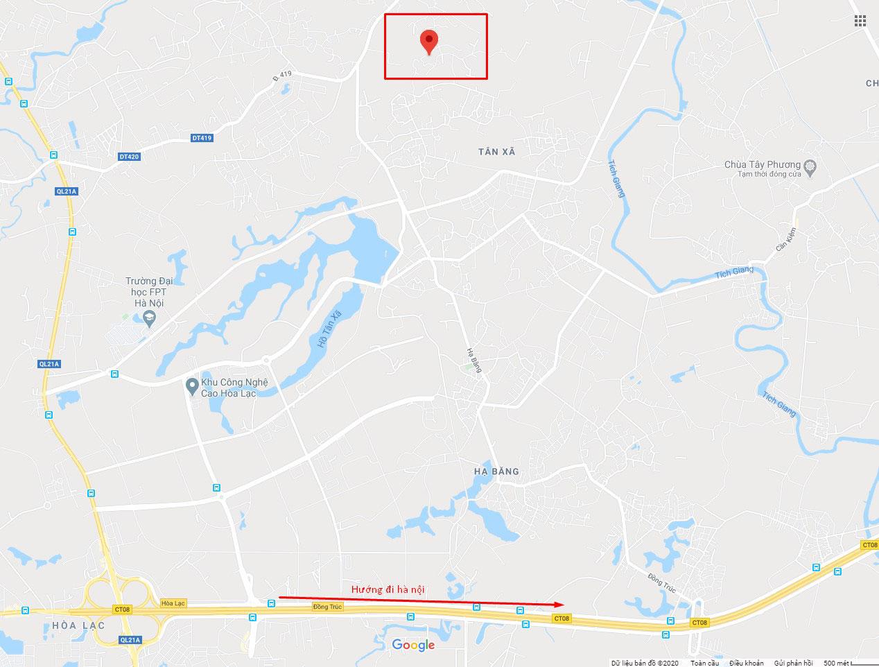 Mặt bằng khu đất 23 lô thôn Đồi Sen, Bình Yên - Khu CNC Hòa Lạc