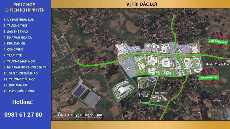 Vị trí 34 lô đất nền khu dân cư Đồi Sen, Bình Yên, Thạch Thất - Khu CNC Hòa Lạc