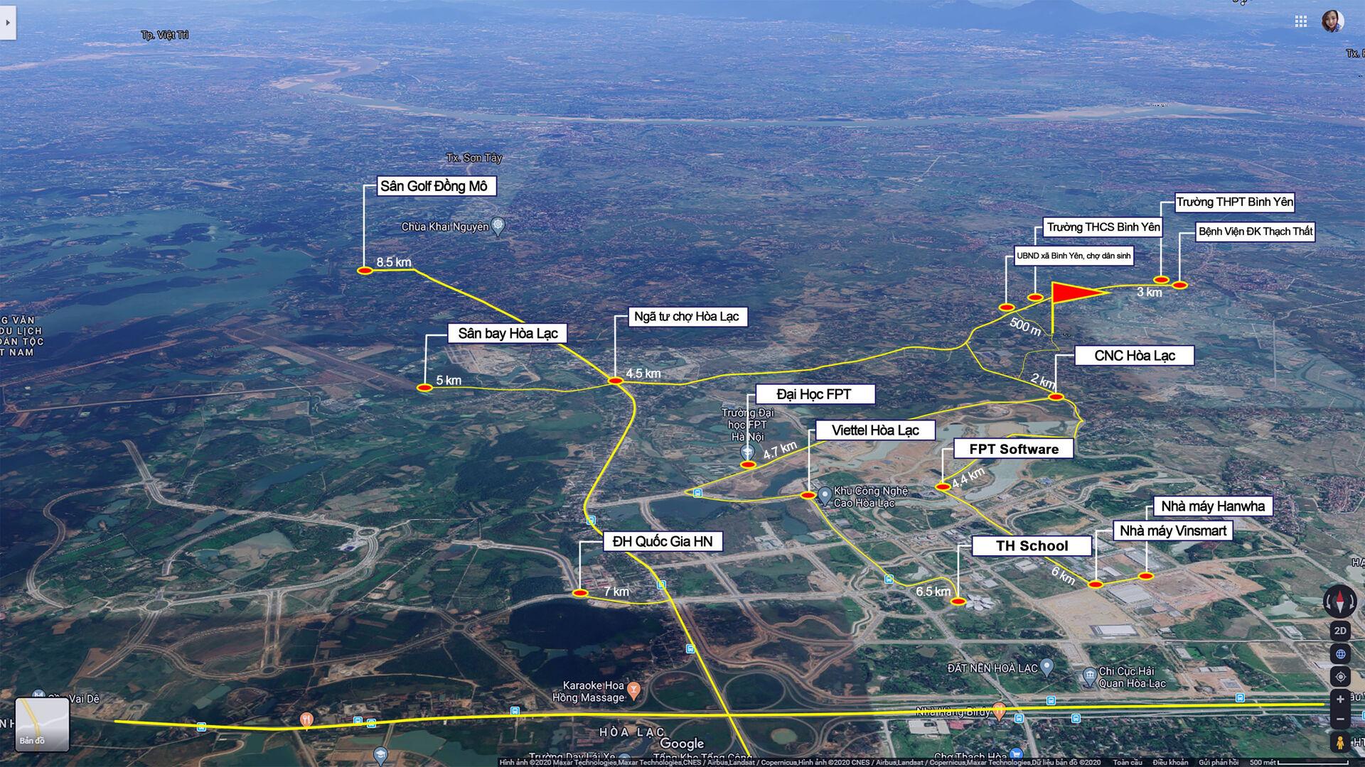 Vị trí Khu 26 lô đất nền Đồi Sen, Bình Yên - CNC Hòa Lạc