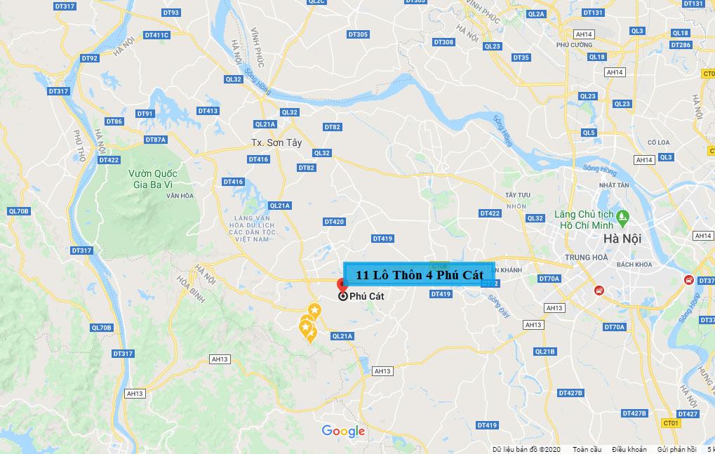 Măt bằng 11 lô đất thôn 4, xã Phú Cát, huyện Quốc Oai - Hòa Lạc