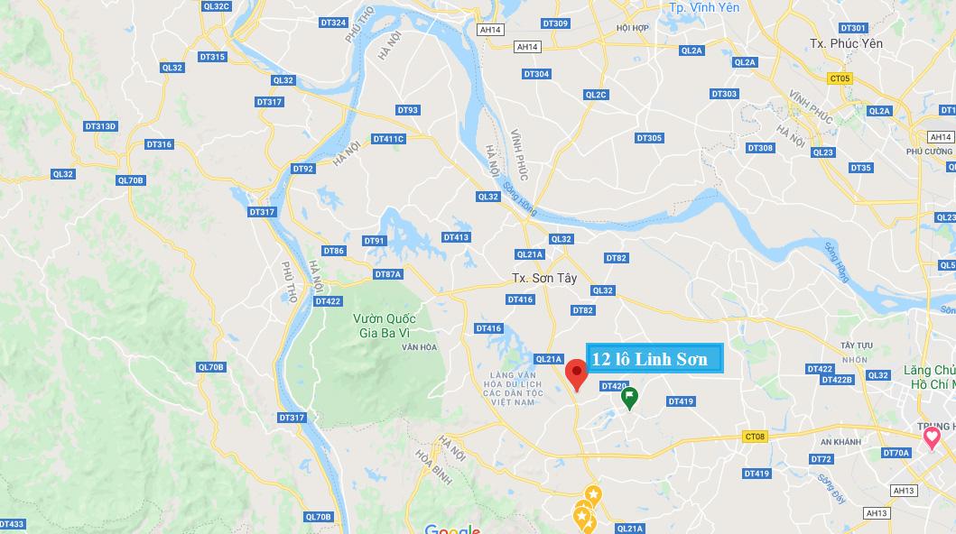 Vị trí 12 lô đất Linh Sơn, Bình Yên, Thạch Thất - Khu đô thị vệ tinh Hòa Lạc