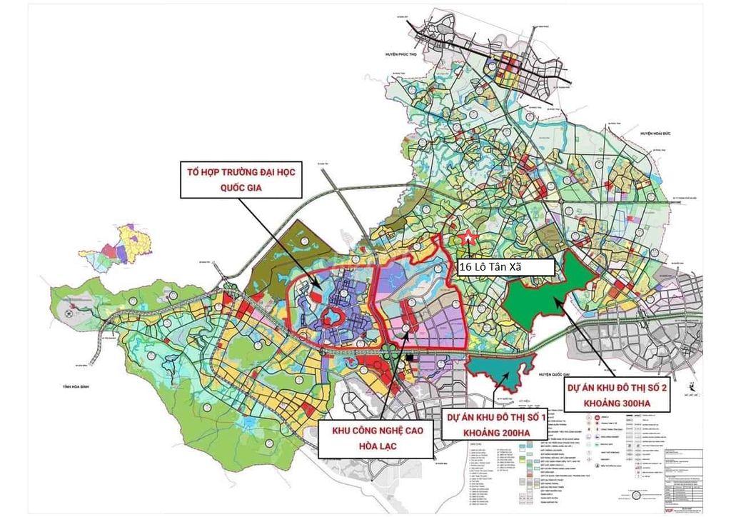 Vị trí khu đất nền Hòa Lạc 16 lô Tân Xã trên bản đồ quy hoạch Khu CNC Hòa Lạc