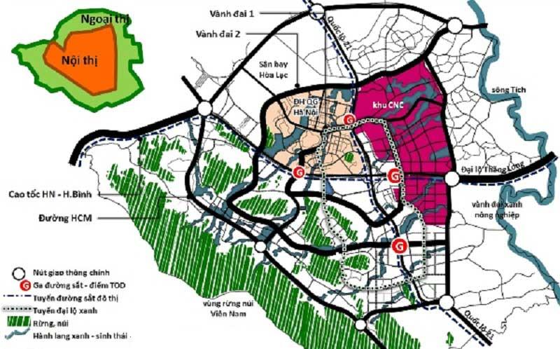 Vị trí khu đô thị vệ tinh Hòa Lạc