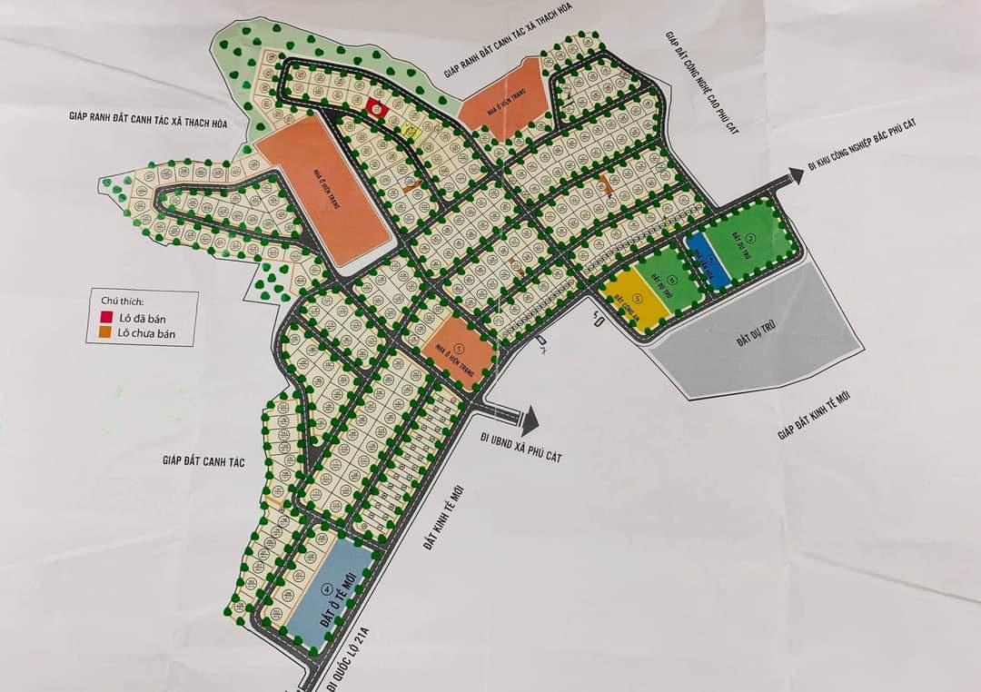 Mặt bằng phân lô khu tái định cư Phú Cát - Tái định cư Vai Réo