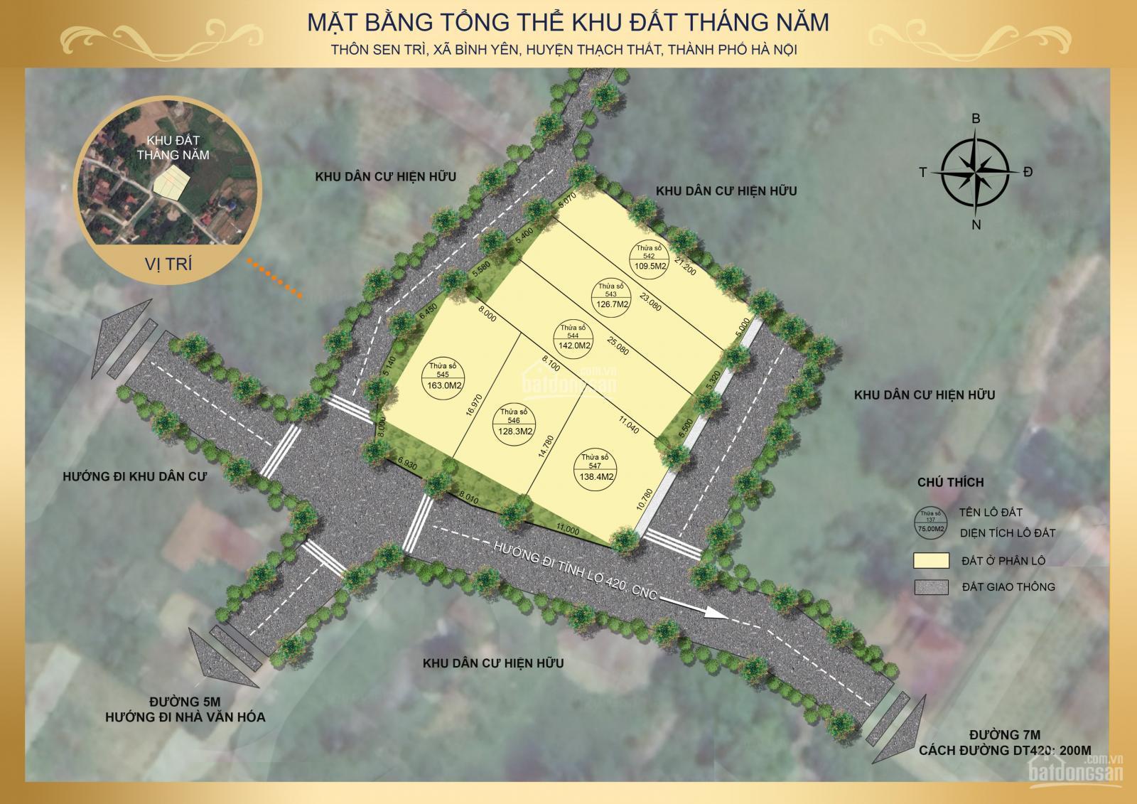 Vị trí 06 lô đất nền thôn Sen Trì, xã Bình Yên, huyện Thạch Thất, TP Hà Nội - Cách Tỉnh lộ 420 200m