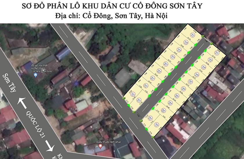 Mặt bằng phân lô 21 lô đất nền Cổ Đông, Sơn Tây, Hà Nội