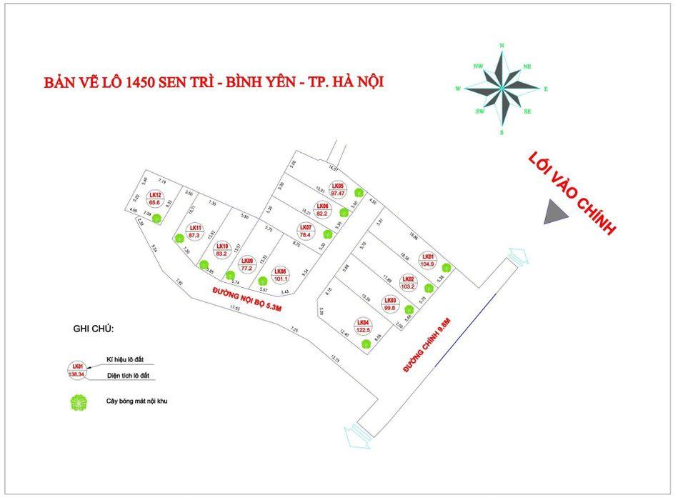 Vị trí 12 lô đất nền Sen Trì, Bình Yên, Thạch Thất - Đất nền CNC Hòa Lạc