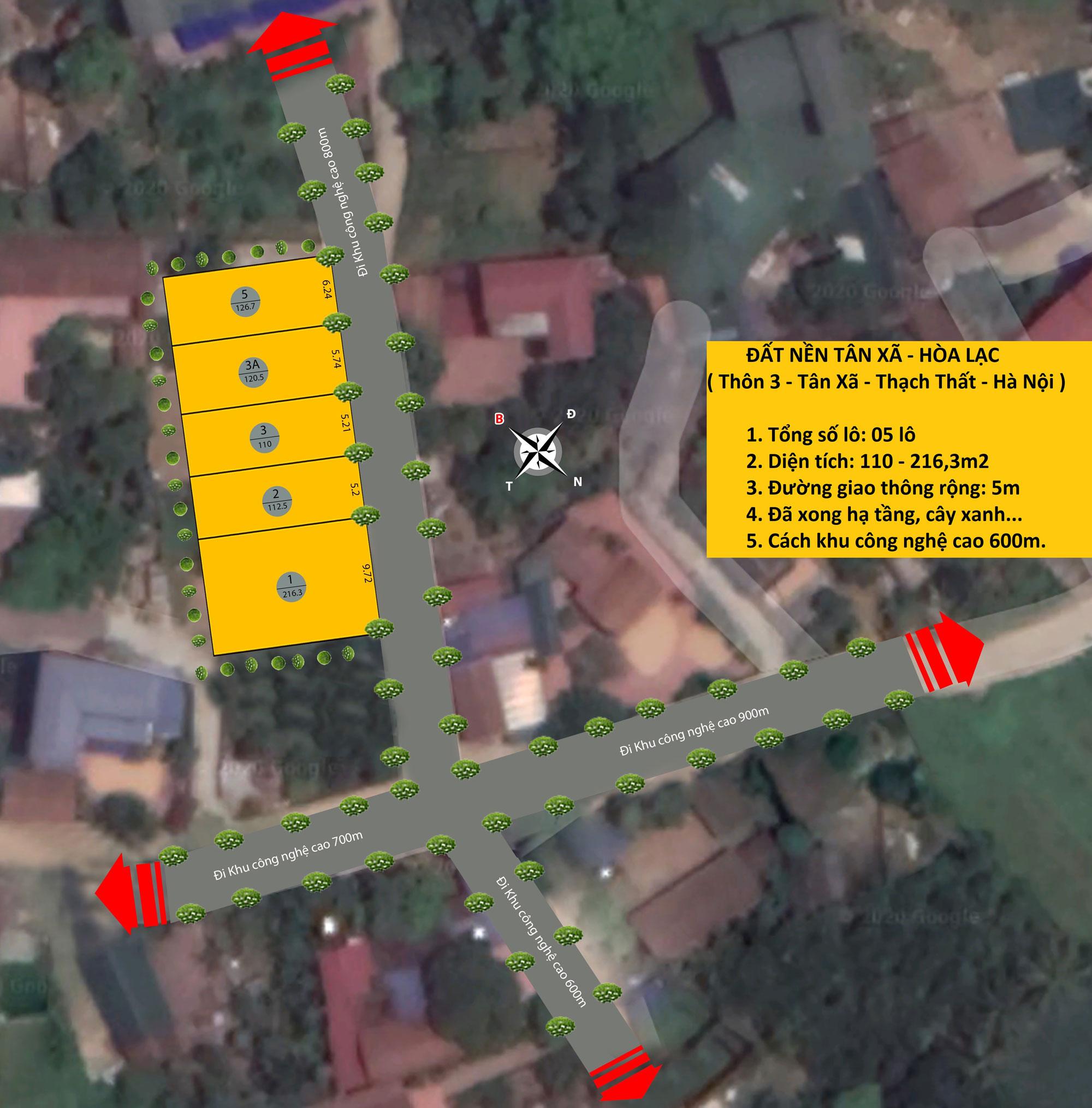 Vị trí 05 lô đất nền Tân Xã, huyện Thạch Thất, TP Hà Nội
