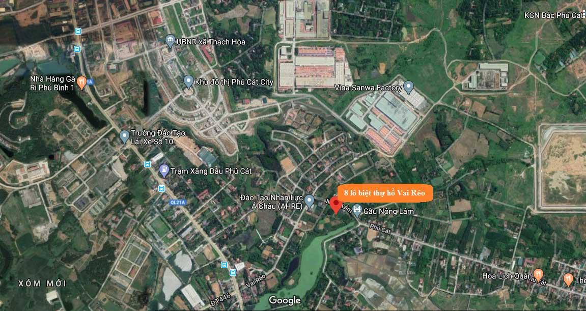Vị trí 08 lô đất nền hồ Vai Réo, Phú Cát, Quốc Oai, Hà Nội