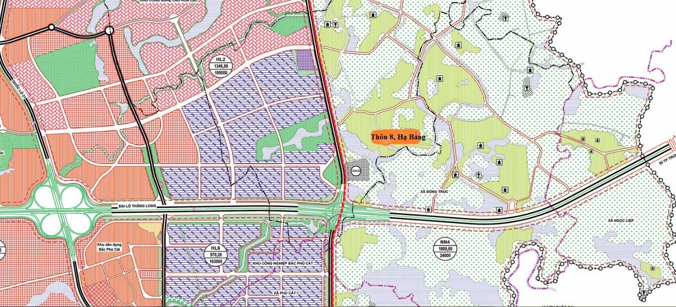 Quy hoạch hoạch đô thị Hòa Lạc tỷ lệ 1/10.000. Khu đất thôn 8, Hạ Bằng nằm ngay sát khu Công nghệ cao Hòa Lạc.
