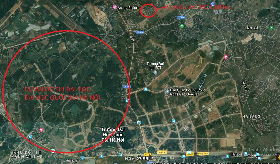 Vị trí khu tái định cư Linh Sơn 7,88ha, xã Bình Yên, huyện Thạch Thất, TP Hà Nội