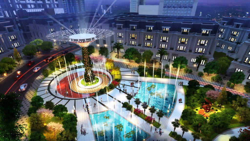 Quảng trường nhạc nước - Cây ánh sáng đầy sắc màu