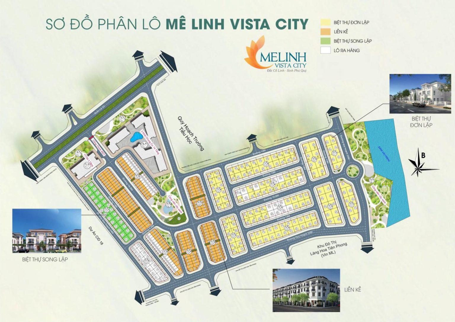Sơ đồ phân lô dự án Mê Linh Vista City