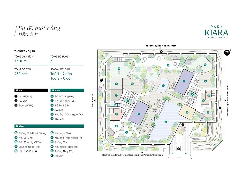 Mặt bằng tiện ích chung cư Park Kiara