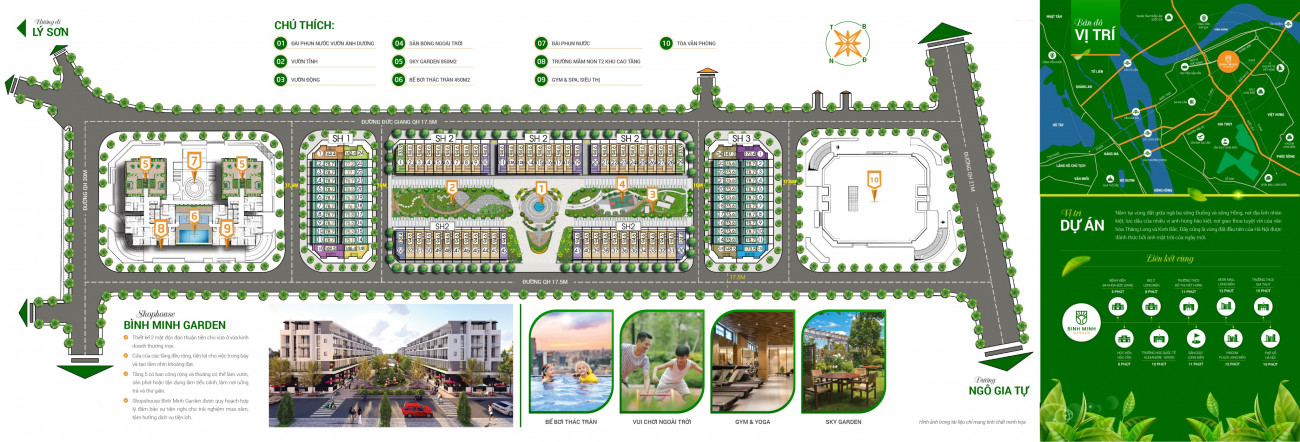 Tiện ích dự án Shophouse Bình Minh Garden