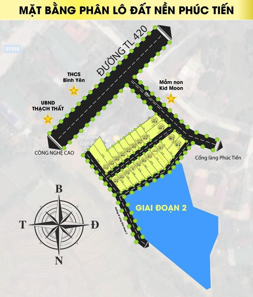 Đất nền Hòa Lạc khu 21 lô Phúc Tiến - Bình Yên chỉ từ 800tr kinh doanh được ngay