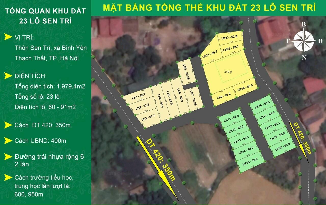 Đất nền Hòa Lạc khu 23 lô Sen Trì, Bình Yên DT 60-91m2