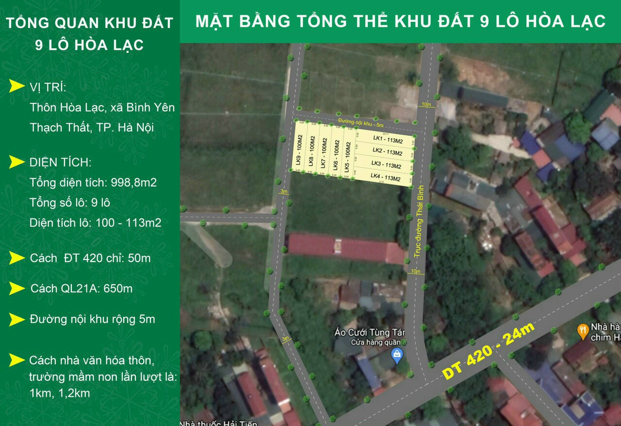 Mở bán 09 lô đất thôn Hòa Lạc xã Bình Yên, DT 100 - 113m2, Sẵn sổ, Giá tốt